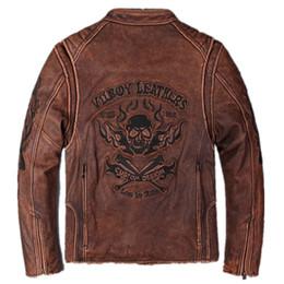 cuir de vachette épais Promotion 2017 Hommes Vintage Rouge Véritable Crâne En Cuir Moto Veste Réel Épaisse En Cuir de Vachette Slim Fit En Cuir Biker Manteaux D'hiver M-XXXL