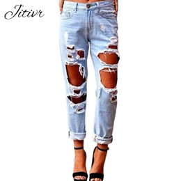 Wholesale Tear Jeans For Women - 2017 New Jeans Woman Ripped Jeans With High Waist Soft Button Trousers For Women Vintage Plus Size Torn Boyfriends