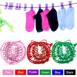 Wholesale Rope Clothesline - Portable Outdoor Windproof Clothesline Hanger Drying Rack Clothes Hanging Rope Line with 12 Clips J2Y