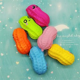 Wholesale peanut charms - Squishy Peanut Shape Decompression Toys Squishies Simulation Food Slow Rising Squeeze Toy Phone Straps Charm Pendant Multi Color 3 4hb CR