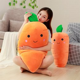 Wholesale realistic soft toys - Soft Cartoon Carrot Plush Doll Realistic Vegetables Shaped Pillow Cushion Kwaii Home Decor Toys Gift Hot Sale 14dy YY