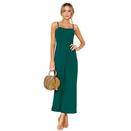 93993c31a41 wholesale Women Jumpsuits Clubwear Wide Leg Pants Vintage Backless Playsuit  Bodycon Party Long Jumpsuit Romper Green Black Summer Sexy Hot