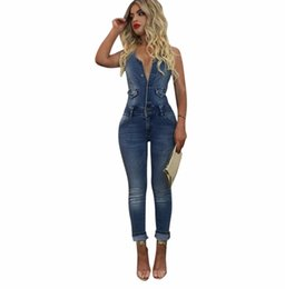 Wholesale women s denim overalls - 2018 Summer Fashion Casual Women Denim Jumpsuit Sleeveless Buttons Slim Long Jumpsuits Overalls Party Rompers Jeans