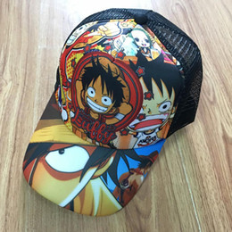 Uno cosplay d online-One Piece Cosplay Anime Scimmia D Luffy Sun Cap Baseball ha raggiunto il picco di Snapback Mesh Hat per ragazzi o ragazze
