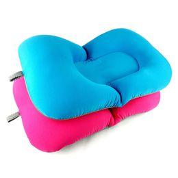 Almohada de asiento infantil online-2 colores de tejido elástico bebé bañera tina cojín de aire cojín de almohada asiento flotante suave bebé recién nacido productos de ducha de baño
