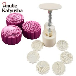 Wholesale Chocolate Bakery - 7Pcs set 3D Plasic Round Moon Cake Molds DIY Flowers Pattern 50g Moon Cake Makers Cookie Chocolate Mould Bakery Tools