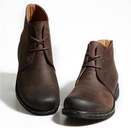 botas de invierno para hombres Rebajas Botas de los hombres del estilo británico de la vendimia Crazy Genuine Leather Martin Men Botas de otoño Trabajo a prueba de agua Senderismo Tobillo de invierno Zapatos Zapatos