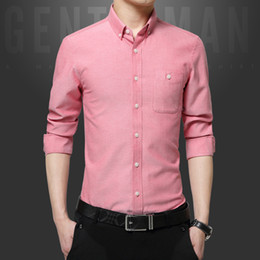 Wholesale Organic Cotton Business Shirts - 2018 Autumn Explosions Men's Business Slim Oxford Spinning Long Sleeve Shirt Men's Solid Leisure Size Cardigan Tide