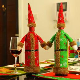 Santa decorado árboles de navidad online-Navidad decorar vino bot Bolsa Cena fiesta decorar botellas de vino Cap Cloth Christmas Tree Santa Claus Bottle Cover Bag BP0101