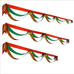 Wholesale Fashion Malls - New Arrival Banner For Christmas Shopping Malls Decoration DIY Flags With Jingle Bells Hanging Wave Flag Fashion 18nm4 B