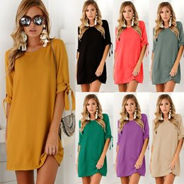 Wholesale beams plus - Women Dress Beam Sleeve O Neck Solid Casual Plus Size S- 3XL Summer Half Sleeve Europen American Fashion Clothes