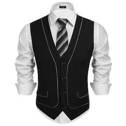 Wholesale Men S Gray Dress Vests - COOFANDY Formal Suit Gentlemen Wear 2017 Newest Male Clothes V-neck Patchwork Vest Business Suit Dress Vest Slim Waistcoat