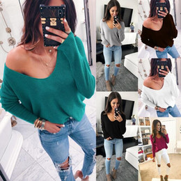 Women Autumn Sexy V-Neck Sweater Long Sleeve Off Shoulder Knitted Pullover  Tops Casual Basic Knitwear Jumpers Pull Femme 0770e9f15