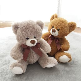 Wholesale Ted Stuffed Animal Bear - 25cm Mini Teddy Bear Plush Toys Cute Soft Stuffed Baby Toys Animals Ted Bear Dolls Wear Red Bow-Knot Children's Birthday Gifts