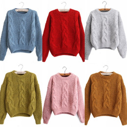 winter pink ladies sweater Promo Codes - O Neck Long Sleeve Women Sweaters  2018 Winter Ribbed 8d04290e8