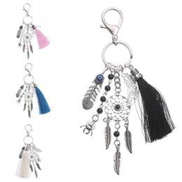 Wholesale Leaves Ornament - Bohemian Tassel Dream Catcher Key Chain Women Turquoise Leaves Bag Pendant Keychain Car Decor Ornament 4 Colors D580Q