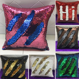 mermaid sequins pillow glamour cover Promo Codes - Mermaid Double Sequin Pillow Case Cover Glamour Square Pillow Case Cushion Cover Home Sofa Car Christmas Decoration Without core WX-P01