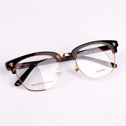 Marcos de anteojos para hombre negro online-NUEVA marca blackgold para hombre gafas de montura semi sin montura Carfia 5316 metal medio marco lentes transparentes gafas ópticas envío gratis