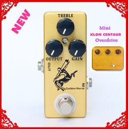 Efectos de mini guitarra online-Pedal de efecto de guitarra Golden Horse Overdrive / Boost-MINI KLON Centaur Clone y bypass verdadero