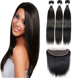 Produtos químicos de estoque on-line-Cutícula completa nenhum produto químico Em Estoque Feixes de cabelo Virgem Natural trama com 13x4 Orelha A Orelha Rendas Frontal