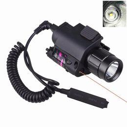 Canada Vente chaude LED Lumière + Laser Rouge Sight 2 en 1 Airsoft Chasse M6 CREE LED Torche Tactique 200LM Laser Clignotant Commutateur Offre