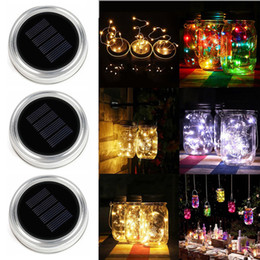 Wholesale glass mason jars wholesale - Solar LED Mason Jars Light Up Lid 10 20 LED String Fairy Star Lights Screw on Silver Lids for Mason Glass Jars Christmas string Lights