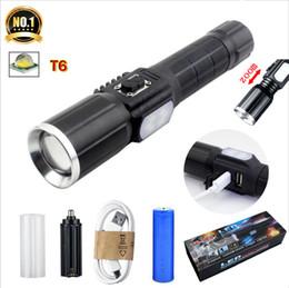 T6 led taschenlampe high power wiederaufladbare taktische licht zoomable wasserdichte multifunktions taschenlampe 18650/3 * 3A batteriebetrieben durch von Fabrikanten