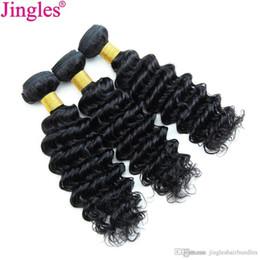 3/4 Deep Curly Weave Bundles Onda Profunda Raw Indian Virgin Extensiones de Cabello Humano Jingles Natural Negro Doble Trama Completo paquete de Head Deal desde fabricantes