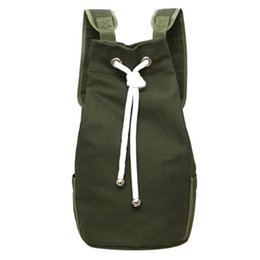 894e5e4fe5c4 Casual Men Canvas Backpack Large Capacity Barrel Backpack Army Green String  Drawstring Daypack for Men Back Pack Backpacks 2018