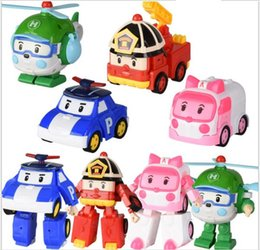 Wholesale Bubble Material - 20pcs  Deformation Car Poli Robocar Bubble toys 4 models South Korea Poli robot transformer Car Helly Amber Roy PC Material With pack