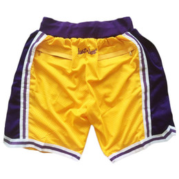 2018 New Los Angeles James Just Don Shorts James Basketball Shorts Jerseys Yellow White Blue Black Purple Mix Order