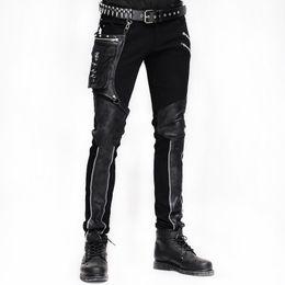 2019 calzamaglia di inverno mens Steampunk Winter Men Long Jean Pantaloni Gothic a vita alta Pantaloni da uomo Pantaloni Black Brown Tights Slimming Streetwear per uomo calzamaglia di inverno mens economici