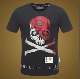Wholesale Printing Text - 2018 new black popular logo skull T shirt male PP text printed short sleeve loose casual TEE male style.