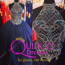 Wholesale Halter Quinceanera Dresses - vestidos de 15 2018 Dark Navy Quinceanera Dresses Designer Halter Neck and Sexy Back Ball Gown Girls Dance Dress with Jacket Real Pictures