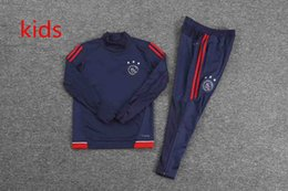 Wholesale Kids Boys Sweaters - 2018 Ajax, Netherlands kids tracksuit Kasper Dolberg and Davy Klaassen children long-sleeved navy blue collar sweater suit