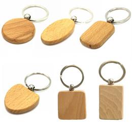 Zubehör holzhalter online-Einfache Blank DIY Holz Schlüsselanhänger Handgefertigte Schlüsselanhänger Ringe Holz Schlüsselanhänger Auto Anhänger Schlüsselanhänger Zubehör Beste Geschenk (9 Form) G199F