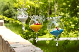 Wholesale Glass Ball Hanging Candle Holders - NEW! Beautiful Hanging Glass Ball Vase Fish Tank Aquarium Terrarium Candle holders Wedding Party Garden Home (ONLY Glass )