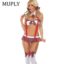 2018 New Womens School Girl Costume Sexy Lingerie Uniform Halloween Cosplay Fancy Dress Lingerie Sexy Hot Erotic Role-Playing da ruolo che gioca lingerie fornitori