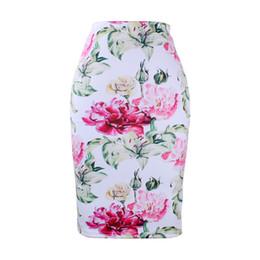 blumen-midi-röcke Rabatt Arbeiten Sie 3D-Blumendruckmädchenbleistiftröcke Westfrauen midi saias weibliches faldas dünnes boomendes M-XXL niedriger Preisverkauf um