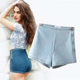 Wholesale High Waisted Denim Shorts Fashion - Wholesale- 2017 High Waisted Denim Shorts For Women Candy Color Short Jeans Ladies Slim Summer Casual Trousers Jeans Female