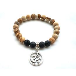 Braccialetto Tree Of Life Braccialetto in rilievo per uomo Bracciale in pietra lavica naturale da donna Tiger's Eye Buddha Lotus Charm Moda gioielli 8 MM Beads da