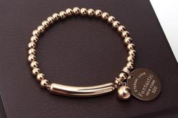 Bracelete selvagem on-line-Coreano contas de corda elástica rodada pulseira de aço da marca maré selvagem acessórios femininos pulseira de aço de titânio banhado a ouro rosa