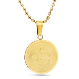 Wholesale commemorative coin gift - Titanium steel bit virtual coin pendant wholesale European and American stainless steel bit commemorative coins 18K necklace