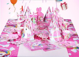 Wholesale pink popcorn - Papery Unicorn Suit Inviting Card Triangle Flag Paper Plate Popcorn Box Cap Cup Birthday Supplies Party Decoration Suit 34qh cc