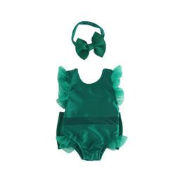 bebê bonito do laço Desconto Baby Girl Lovely Pure Blackish Verde Banhar Flying Lace Manga Conjoined Bebê Swimsuit Com Arco Cabeça Hoop