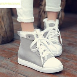 a6777432d554 Women Lace Up Faux Suede Round Toe Wedges Punk Snow Boots Winter Warm Fur  Party Platform Oxfords Casual Shoes affordable platform wedge oxfords