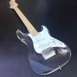 Acrílico cristal ST guitarra eléctrica, diapasón de acrílico cuerpo con luz LED, acrílico Guitarra Chrome Hardware, venta por mayor! desde fabricantes