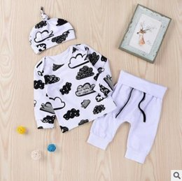 Wholesale Clouds Shirt - 3pcs Baby Clothing Set Newborn Baby Clothes Long Sleeve Cloud Print Tops T-shirt + Pants + Hat Cap Outfits Set Infant Toddler Baby Clothing