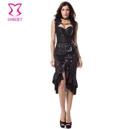 2019 ropa interior de cebra Vintage Steampunk Corset Dress mujeres negro más tamaño corsés y Bustiers falda chaqueta conjunto gótico vestidos trajes burlescos
