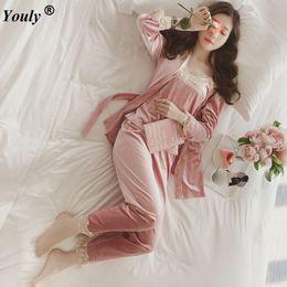 Wholesale Women Pyjamas Set - Wholesale-2017 brand autumn winter female 3 pieces pajamas sets women lace floral velvet Flannel Sleepwea bathrobe pyjamas sets Pants